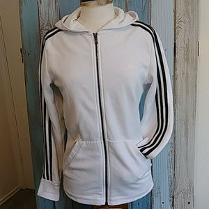 adidas Gameday Hoodie White w/Black Stripes Sz S